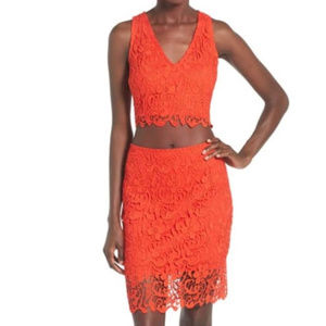 Leith Lace Lace Crop Top and Midi Skirt Set